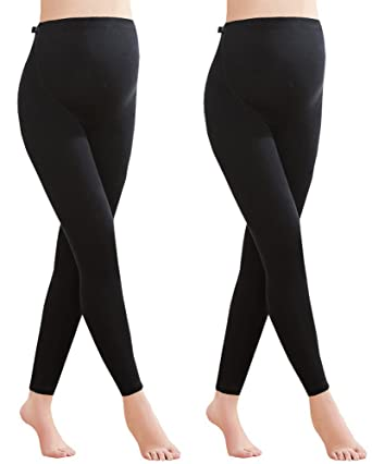 62502c2ec6afe Foucome 2 Pack Maternity Leggings Full Ankle Length Cotton Super Soft  Support Leggings Black UK S
