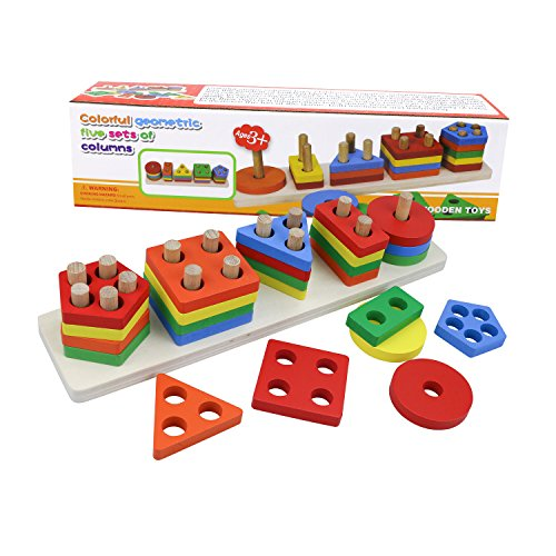 Stacking Building Blocks (Fixget Wooden Building Blocks Set, Kids Building Blocks Toys Set Stacking Blocks Puzzle Building Blocks Set Structure Tile Games, Educational Build, Toy Blocks for Toddlers)