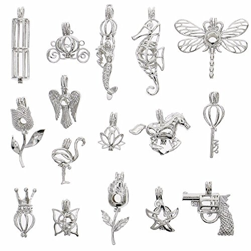 Pearl Brooch Pendant (Coobbar 16Pcs White Gold Hollow Pearl Bead Cage Pendant Locket For DIY Jewelry Making)