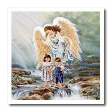 3dRose ht_4667_2 Guardian Angel Iron on Heat Transfer for White Material, 6 by 6-Inch
