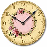 Item C6032 Vintage Style Shabby Chic Pink Roses Clock (12 Inch Diameter) For Sale