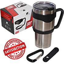 GetiGrip Tumbler Handle + Free Carabiner for Ozark Trail, YETI, RTIC, SIC, Orca & most Other 30oz Tumblers, Anti-Slip Perfect Cup-Holder Size