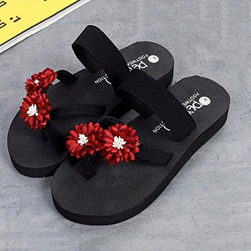 Flops Jiyaru Red Casual Shoes Beach Sandals for Slide Flip Women Summer Comfort Slippers FFOBn7x