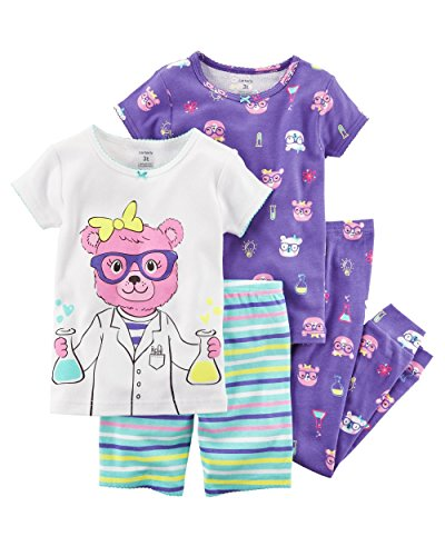 Carter'S Girls' 6M-12 4 Piece Multi Science Pajama Set 3T, Multi/Pink/Purple ()