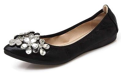 9afe60a0e CANPPNY Women Wedding Flats Rhinestone Wedding Ballerina Shoes Foldable  Sparkly Bridal Slip on Black Flat Shoes