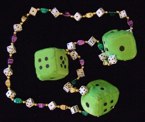 Green Fuzzy Dice Craps Mardi Gras New Orleans Beads Necklace Party by Mardi Gras World (Dice Mardi Gras Beads)
