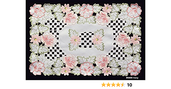 Elegant linen Embroidered Floral Place Mats sold as set of 4 Size 12x18VCHP17-18