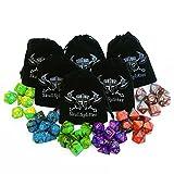 Skull Splitter Dice - Six Set of 7 Swirl Dice D4, D6,D8, D10, D20, Percentile w Small Bags