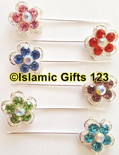 Rhinestone Muslim Hijab Pins (20) Islamic Scarf Safety Pins Mixed Colors Crystal Shawl Needle pin-Korean-Ramadan Decoration Distributor-Islamic Gifts 123 5 Days Delivery USA (Mix Colors) ()