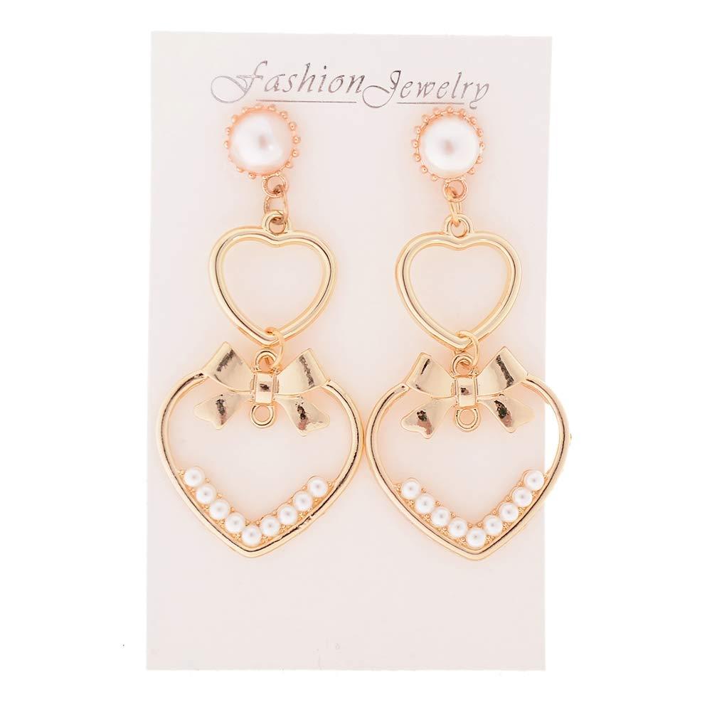 LANYAN Love Heart Dangle Drop Earrings with Bow Pearls Fine Jewelry Gift for Women Girls