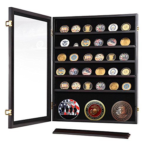 (OKSLO Military challenge coin casino poker chip display case shadow box wood cabinet)