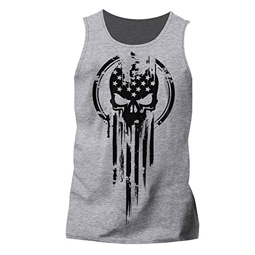 Warrior Skull T-shirt - Dion Wear American Warrior Flag Skull Military T-Shirt X-Large Heather Gray