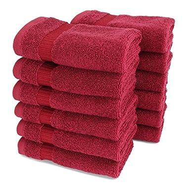 Turkish Luxury Hotel & Spa 13 x13  Wash Cloth Set of 12 - 100% Genuine Cotton - From Turkey - 700gsm Organic, Eco-friendly (Washcloths, Wine)