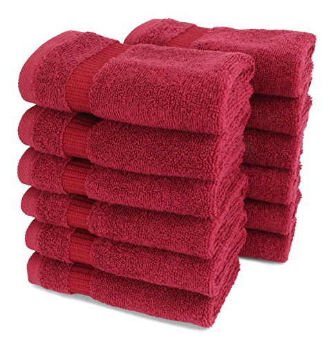 SALBAKOS Luxury Hotel & Spa Turkish Cotton 12-Piece Eco-Friendly Washcloth Set for Bath, 13 x 13 Inch, Wine (Red Dye Clothes)