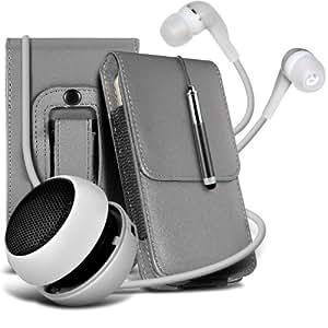 Samsung Galaxy Express 2 protección pu estuche de cuero de la correa de la pistolera del tirón del sostenedor de la cubierta del caso, Retractable Stylus Pen, Jack de 3,5 mm auriculares auriculares auriculares y mini recargable portátil de 3,5 mm Cápsula Viajes Bass Speaker Jack Grey por Spyrox