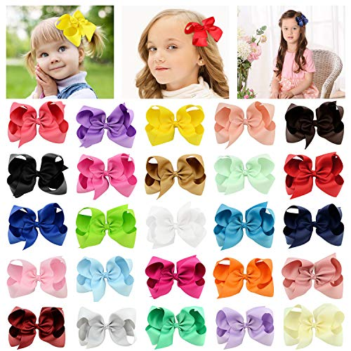 25 PCS Hair Bows 6 inch Grosgrain Ribbon Boutique Hair Bow Clips for Girls
