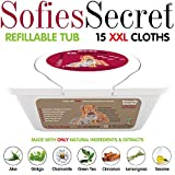 SofiesSecret XXL PET BATH Wipes, 12''x12'' for Dogs + Cats, infused with ONLY 100% Natural & Organic Extracts, Rinse Free Grooming Wipes for Paws, Coat, Face, Ears, Skin, Teeth