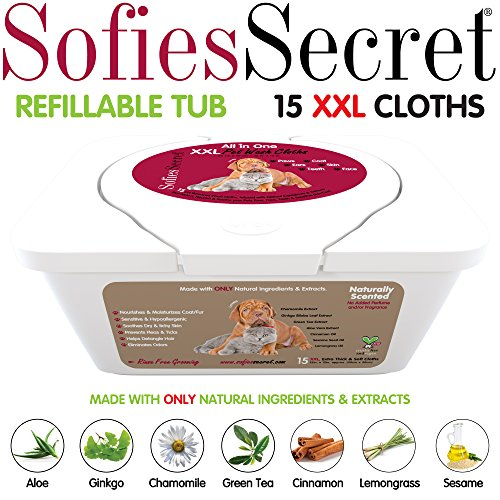 SofiesSecret XXL PET Bath Wipes, 12x12 for Dogs + Cats, Infused with ONLY 100% Natural & Organic Extracts, Rinse Free Grooming Wipes for Paws, Coat, Face, Ears, Skin, Teeth