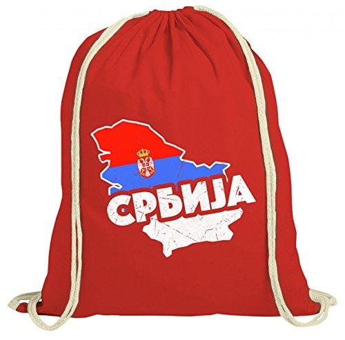 ShirtStreet Serbia Fußball WM Fanfest Gruppen natur Turnbeutel Rucksack Gymsac Land Serbien Rot Natur