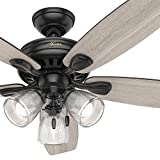Hunter 52 inch Matte Black Finish Contemporary Ceiling Fan with Light Kit (Certified Refurbished)