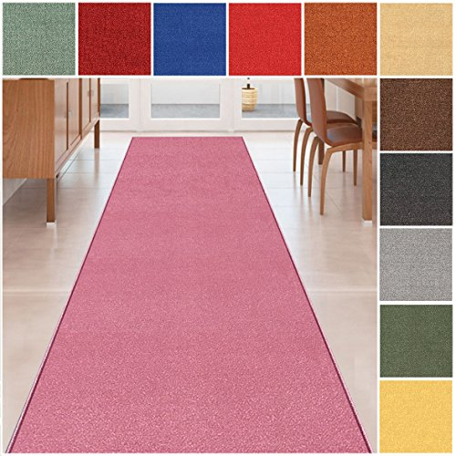Custom Size PINK Solid Plain Rubber Backed Non-Slip Hallway Stair Runner Rug Carpet 22 inch Wide Choose Your Length 22in X 15ft