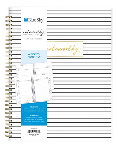 Blue Sky Noteworthy 2019 Weekly & Monthly Planner and Notebook, Flexible Cover, Twin-Wire Binding, 8.5