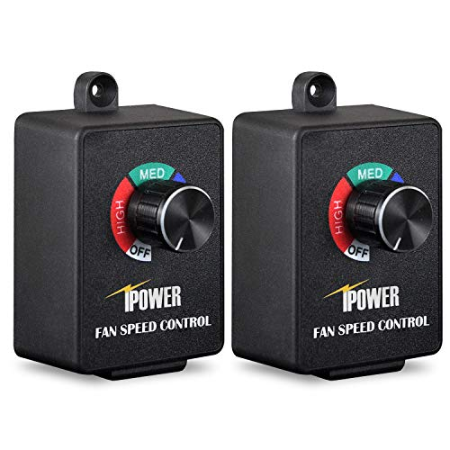 Exhaust Variable 2 Speed Fan - iPower Exhaust Fan Variable Speed Controller Adjuster For Duct Inline Fan Vent Blower 350W, Pack of 2