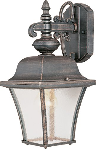 Patina Wall Decor (Maxim 1066RP Senator 1-Light Outdoor Wall Lantern, Rust Patina Finish, Seedy Glass, MB Incandescent Incandescent Bulb , 60W Max., Dry Safety Rating, Standard Dimmable, Glass Shade Material, 10080 Rated Lumens)