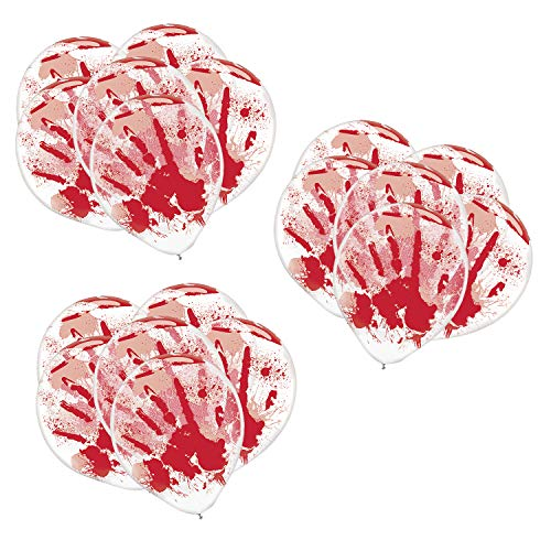 Asylum Halloween Party (Amscan Blood-Splattered Clear Latex Balloons | 18 Count (Single Pack) | Great for Haunted Asylum Theme, Halloween Party)