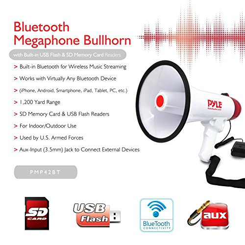 New 2015. Maximum 40Watts Professional Megaphone PYLE pmp42bt White and Red with Audible Alarm Function up to 900Metres with SD Card USB 3.5mm Jack Aux Input and Built-in Bluetooth
