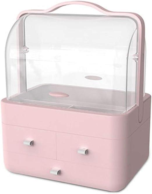Caja De Almacenamiento De Maquillaje, Estante De Barra De Labios A Prueba De Polvo Portátil De Doble Capacidad De Gran Capacidad, Rosa/Blanco, Tamaño: 30 × 20.5 × 40 Cm: Amazon.es: Hogar