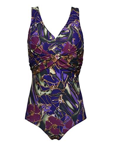 Hilor Women's Plus Size Front Twist Retro Ruched One Piece Swimsuit 14/16 Purple