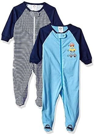 Gerber Baby Boys 2 Pack Zip Front Sleep 'n Play, Cars, 0-3 Months
