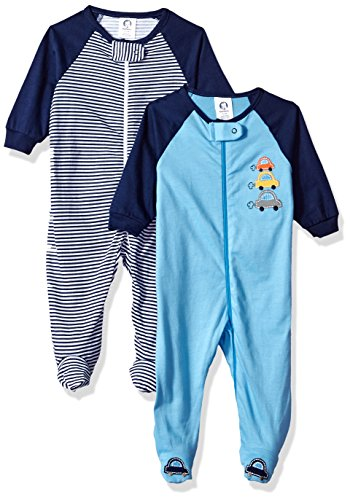 Infant Sleeper - Gerber Baby Boys 2 Pack Zip Front Sleep 'n Play, Cars, 6-9 Months
