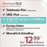 PremiumSIM LTE 3000 [SIM, Micro-SIM und Nano-SIM] monatlich kündbar (4 GB LTE mit max. 50 Mbit/s inkl. Datenautomatik, Telefonie-Flat und SMS-Flat. Europa-Paket: Telefonie- & SMS-Flat nach Deutschland und im Reiseland (inkl. Schweiz) und 1 GB Internet, 12,99 Euro/Monat)