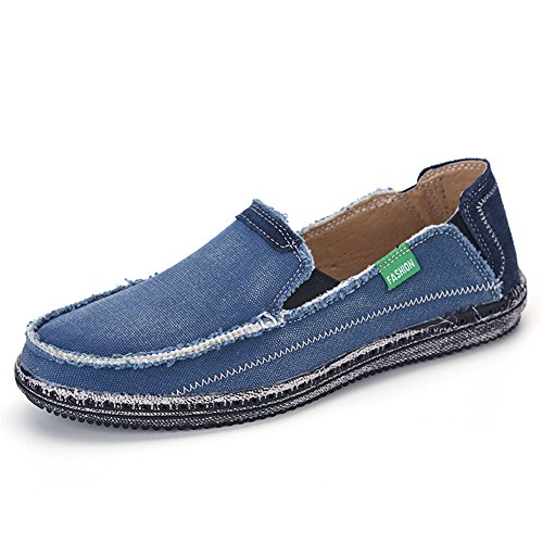 L-RUN Match Men's Canvas Shoe Cotton Cloth Walking Shoes Blue 9 M US