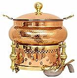Indian Art Villa Steel Copper Chafing Dish with Sigdi Design Gel Fuel Stand, Buffet Warmer Serveware Party, 202 OZ