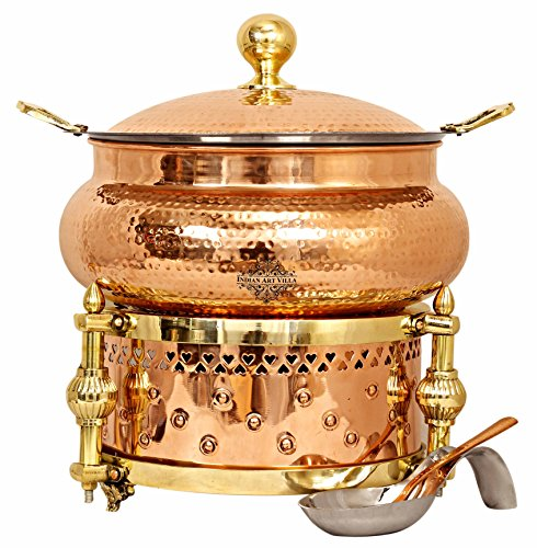 - Indian Art Villa Steel Copper Chafing Dish with Sigdi Design Gel Fuel Stand, Buffet Warmer Serveware Party, 202 OZ