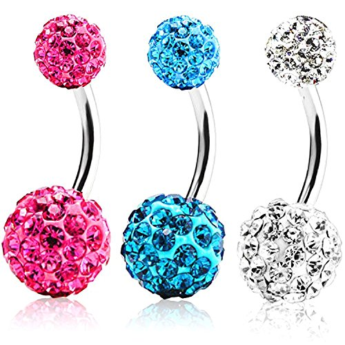 NYKKOLA 3Pcs 14G Stainless Steel Crystal Belly Button Rings Screw Navel Bars Body Piercing ()
