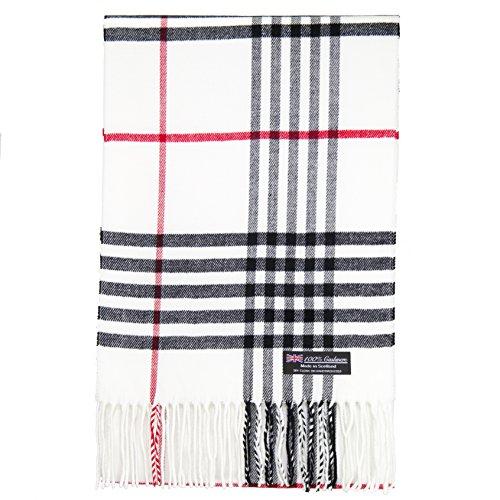 2 PLY 100% Cashmere Scarf Tartan OS Big Check Plaid Made in Scotland Wool Wrap Muffler (White Red Black GC)