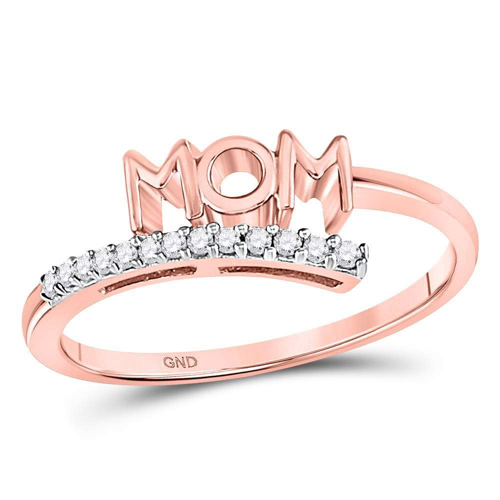 Diamond Mom Mother Bypass Band Ring 1//12ct 10k Rose Gold