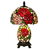 Roses Stained Glass Tiffany Style Desk Table Lamp