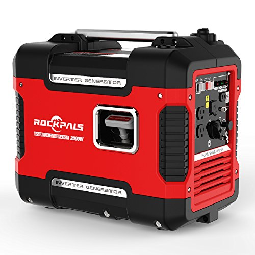 Rockpals 2000-Watt Portable Inverter Generator, Super Quiet Gasoline Digital Power Generator, CARB Compliant With Eco-Mode, Dual 120V AC Outlet, 2 USB Ports, 12V DC Battery Charging Cables - Portable Digital Inverter Generator