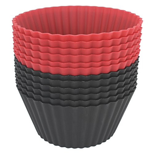 Freshware CB-320RB 12-Pack Silicone Jumbo Round Reusable Cupcake and Muffin Baking Cup, Black and Red Colors by Freshware (Image #1)