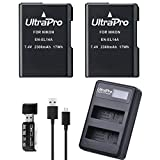 2-Pack EN-EL14 / EN-EL14A / EN-EL14A+ High-Capacity Replacement Battery with Rapid Dual LCD Charger for Select Nikon Digital Cameras. UltraPro Bundle Includes: USB SD/SDHC Card Reader