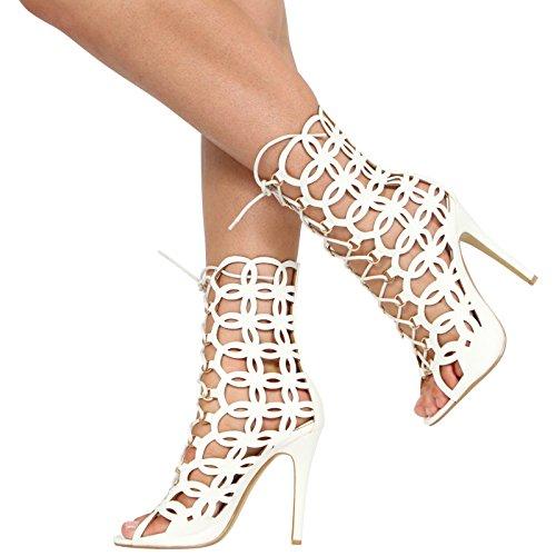 Damen Ladies High Stiletto, fersenfreie, hochgeschnürte Stiefelette mit käfigbettiger Zehenöffnung, Größe 35