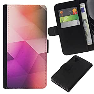 All Phone Most Case / Oferta Especial Cáscara Funda de cuero Monedero Cubierta de proteccion Caso / Wallet Case for LG Nexus 5 D820 D821 // patrón de polígono arte poli de color púrpura