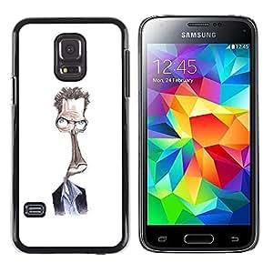Steve Dibujo Blanca extranjero Carácter- Metal de aluminio y de plástico duro Caja del teléfono - Negro - Samsung Galaxy S5 Mini (Not S5), SM-G800