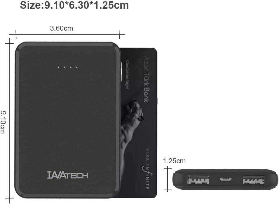 Handy in Schwarz IAVATECH Powerbank 5000mAh Portable Externer Akku Kompakte Super Leicht Slim 2 Ausg/änge Powerbank Handy Ladeger/ät f/ür Smartphones ipad usw