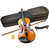 YMS SD-150 4/4 Full Size Student Violin Hand Carved Flamed Maple Back Starter Kit Outfit w/ Case Bow Rosin & Shoulder Rest by TukTek
